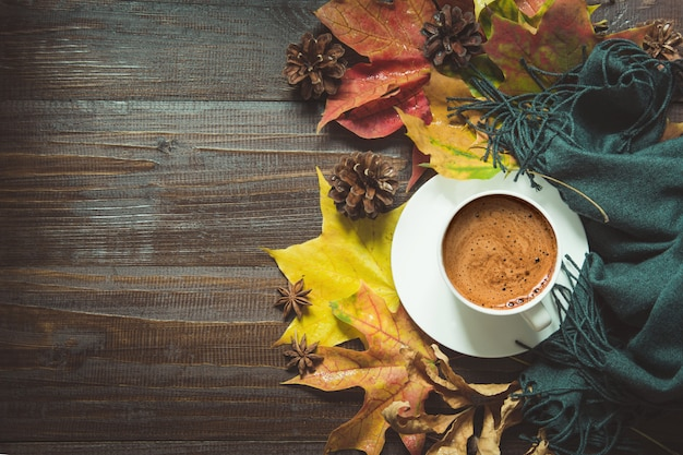 Autumn still life with cup of black coffee, Premium Photo