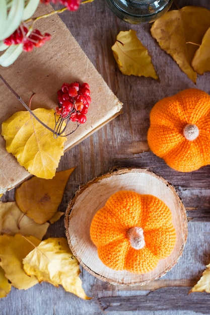 Autumn still life with a pumpkin and fallen leaves top view Premium Photo