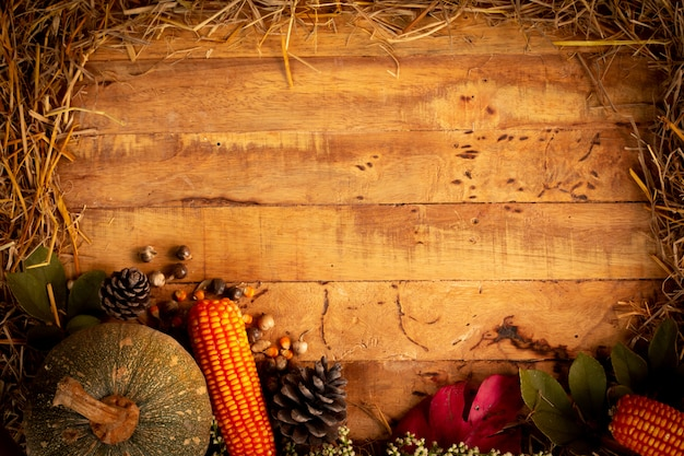 Autumn and thanksgiving day  background from fallen leaves Premium Photo
