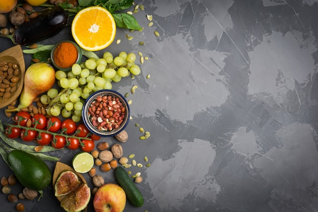 Autumn vegetables and fruit. healthy seasonal food Premium Photo