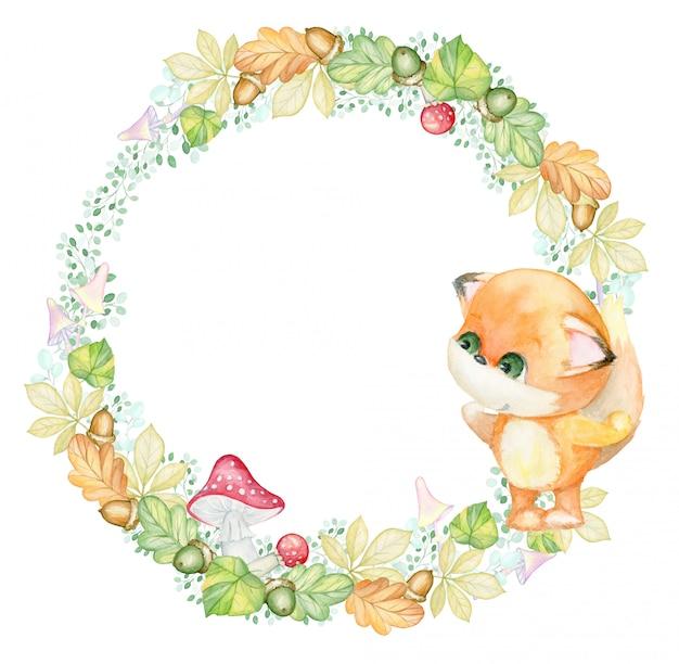 Autumn, watercolor bouquet. little fox. autumn leaves, berries, acorns, mushrooms. watercolor wreath Premium Photo