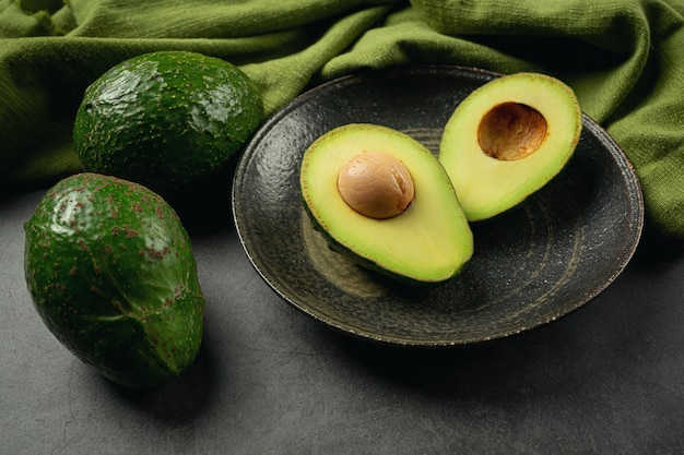 Avocado products made from avocados  food nutrition concept. Free Photo