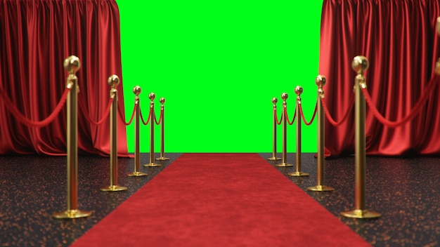 Award scene with open red curtains on a green screen. red velvet carpet between golden hedges Premium Photo