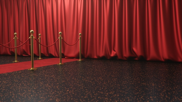 Awards scene with closed red curtains. red velvet carpet between golden barriers. theater stage Premium Photo