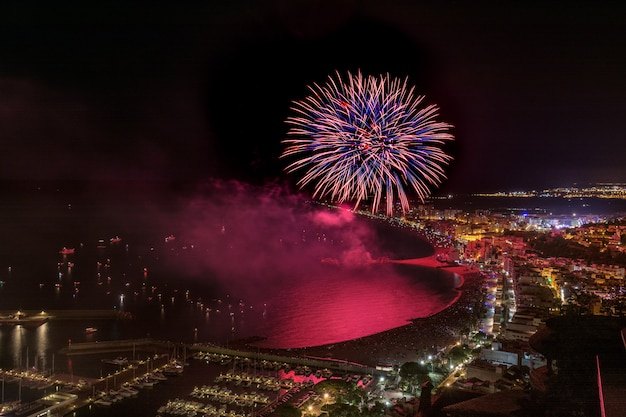 Awesome fireworks above the blanes in catalonia. spain Premium Photo