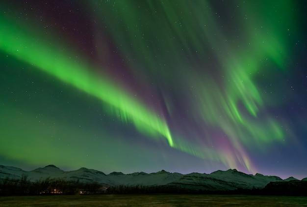 눈, 아이슬란드로 덮여 산 위에 멋진 녹색과 보라색 오로라. 프리미엄 사진