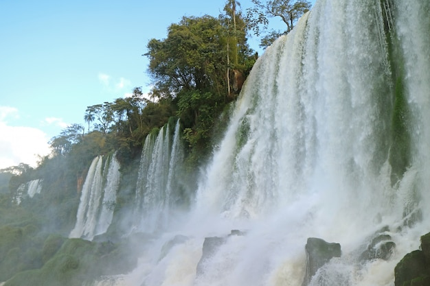 Awesome low angle view of iguazu falls at argentinian side, puerto iguazu, argentina Premium Photo