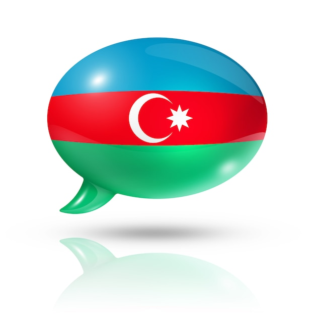Azerbaijani flag speech bubble Premium Photo