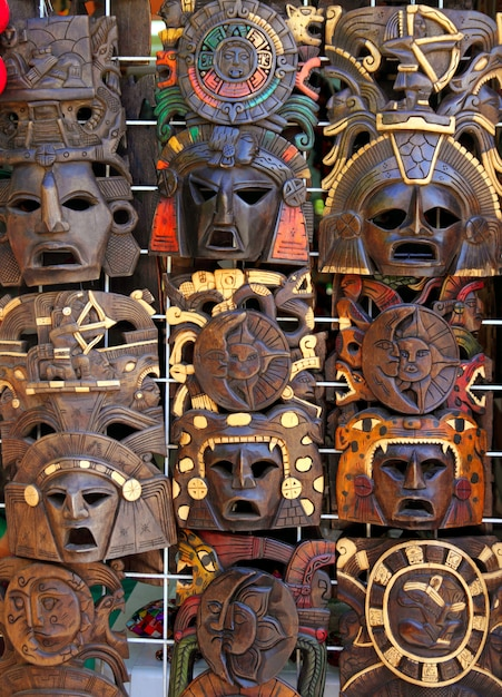 Aztec mayan wooden indian mask handcrafts Premium Photo