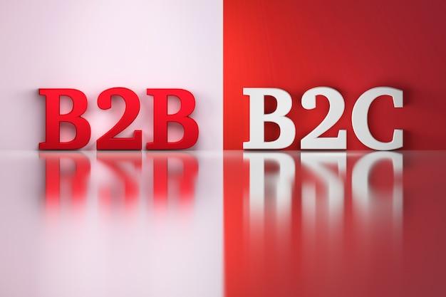 B2b and b2c words in white and red on the red and white reflective b Premium Photo