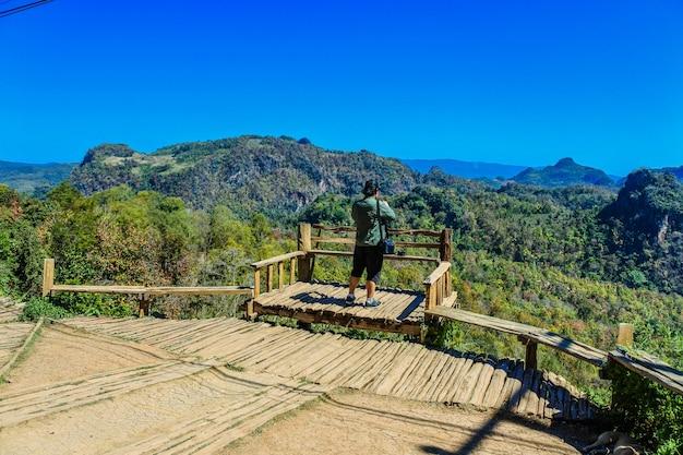 Baan jabo village viewpoint, pang mapha, mae hong son , thailand Premium Photo