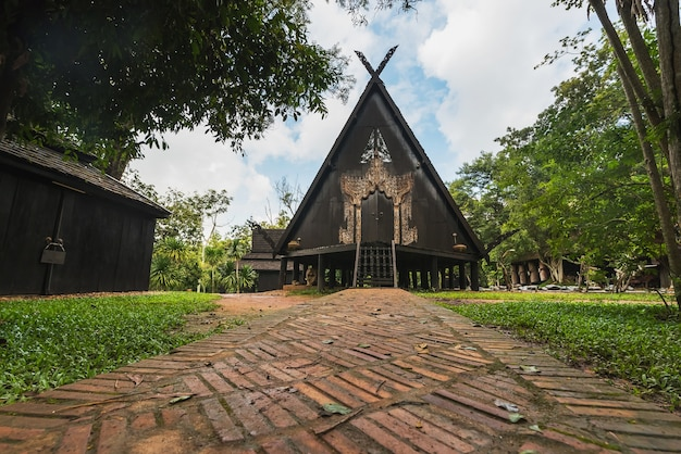 Baandam the thai style traditional wooden house in chiang rai, thailand Premium Photo