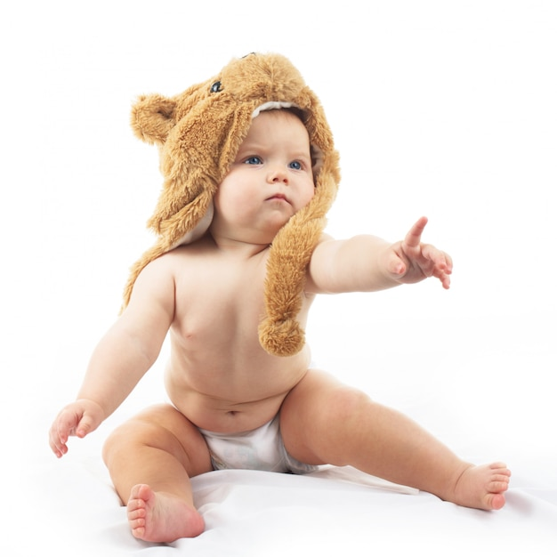 Baby in bear cap Premium Photo