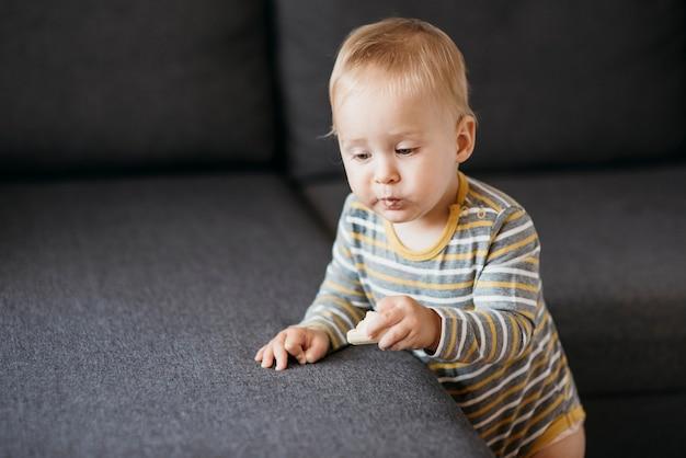 ソファの横で食べる男の子 無料写真