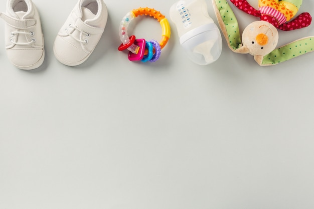 Baby care accessories flat lay Free Photo