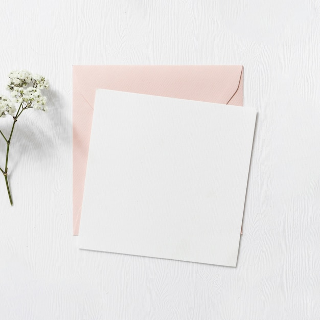 Baby's-breath flowers and pink and white envelope on white background Free Photo