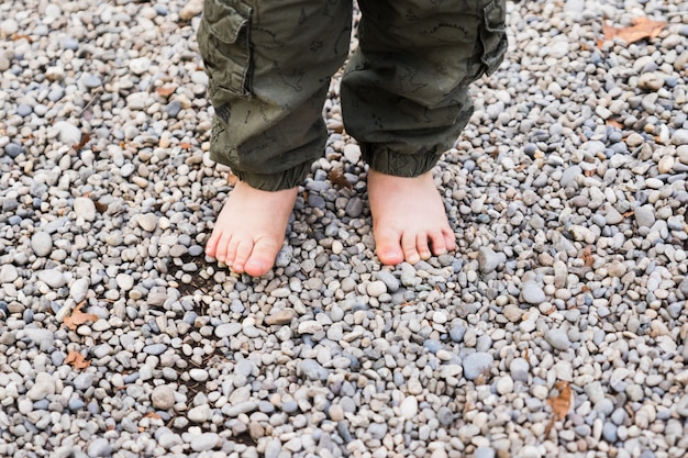 Baby with bare feet on tree trunk Premium Photo
