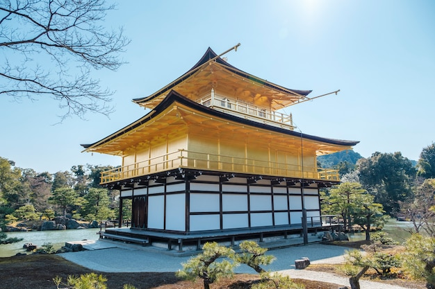 Back of gold gingakuji temple in kyoto, japan Free Photo