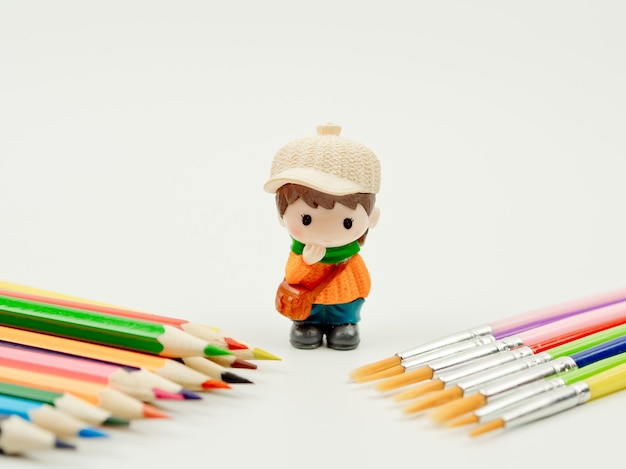 Back to school concept idea, stationary equipment set for back to school concept Premium Photo