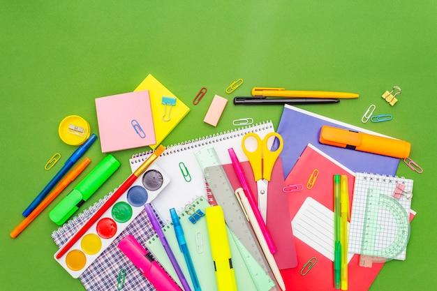 Back to school concept. school education supplies Premium Photo