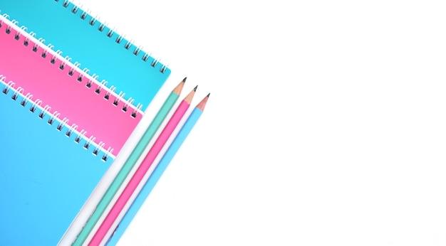Back to school concept, school supplies, colorful pastel notebooks Premium Photo