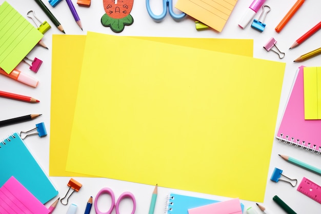 Back to school concept, top view of colorful stationery Premium Photo