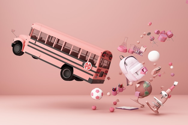 Back to school inspiration poster with educational equipment and school bus 3d rendering Premium Photo