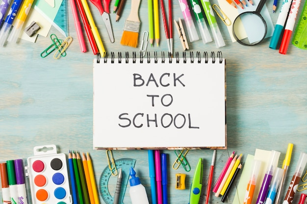 Back to school materials stationeries Free Photo