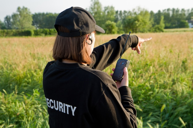 Back of a security guard Premium Photo