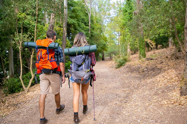 Back view of couple going along road in forest. long-haired woman and man carrying backpacks and hiking on nature together. green trees on background. tourism, adventure and summer vacation concept Free Photo