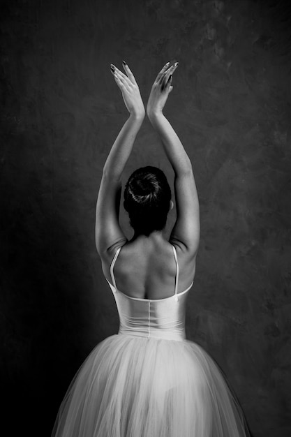 Back view grayscale ballerina Free Photo