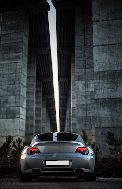 Back view of a grey car standing under the bridge. Free Photo