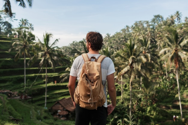 Back view of man explorer with travel backpack enjoying natural environment of green rise plantation during trip in bali Free Photo