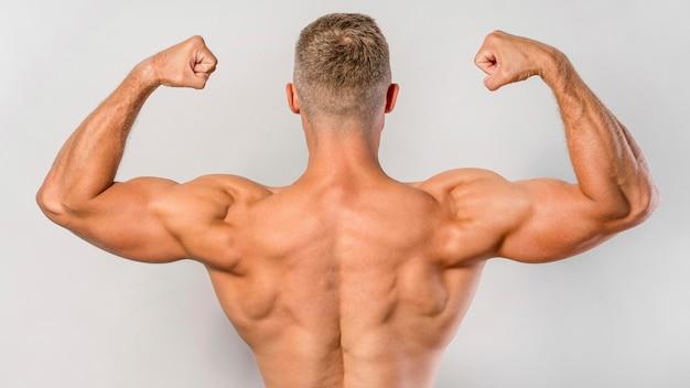 上腕二頭筋を示すフィット上半身裸の男の背面図 無料写真
