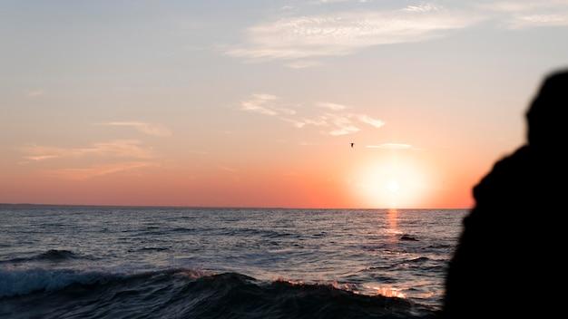 Persona di vista posteriore che guarda il tramonto con lo spazio della copia Foto Gratuite