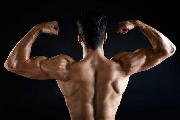 back view shot of strong man photo premium download