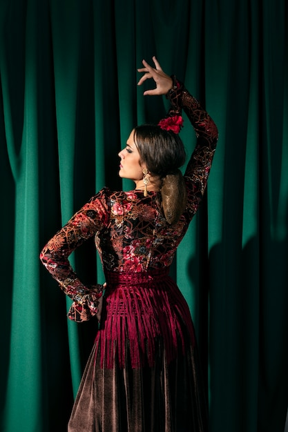 Back view stunning flamenca dancer raising hand Free Photo