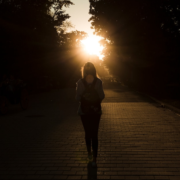 back view woman on sunset photo free download