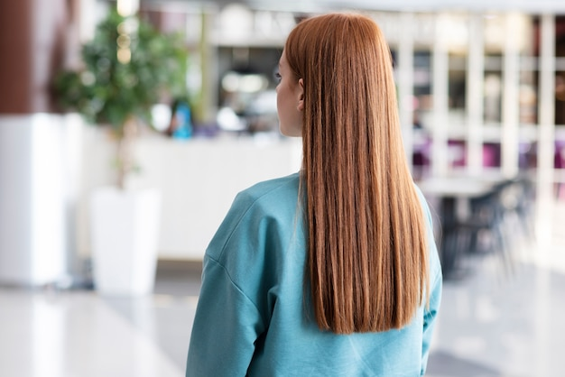Back view woman with beautiful hair Free Photo