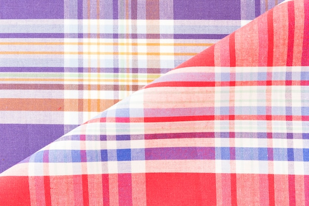 Backdrop of colorful checkered fabric Free Photo