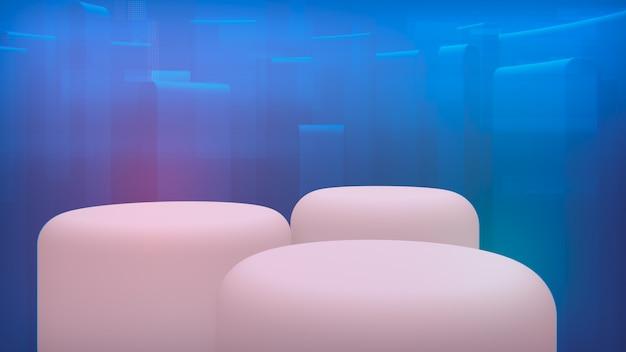 あなたの商品の背景。白い3レベルのショーケース。青い計画3 dレンダリング Premium写真