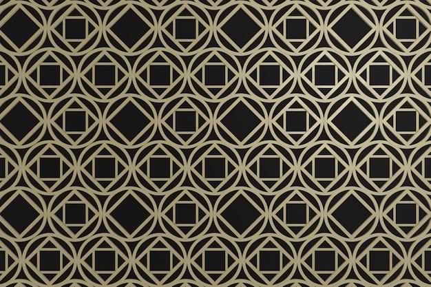 График квадрата и круга брайна на черном backgroun, стена 3d для обоев предпосылки или отделка стен или фон. Premium Фотографии