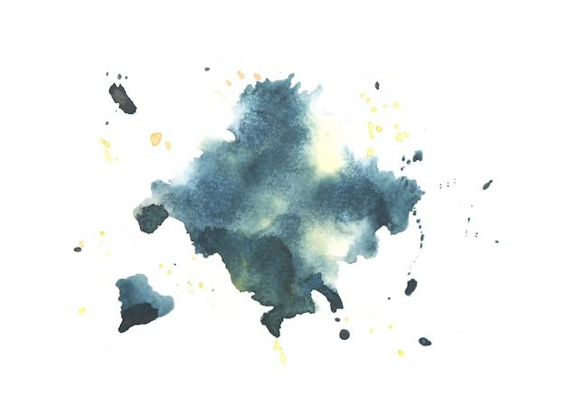 紙に描かれた青い水彩スプラッシュbackground.color青い色合いアート Premium写真