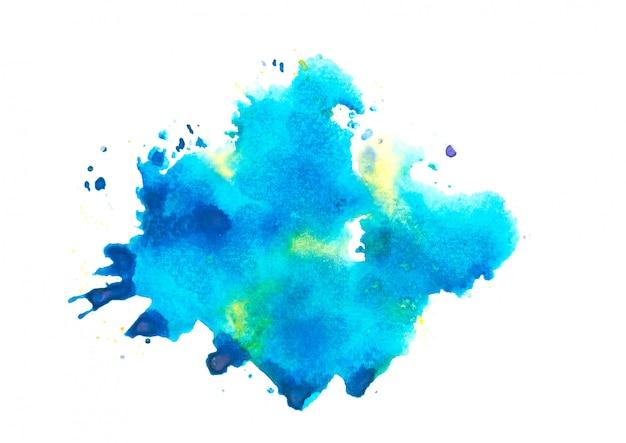 水彩スプラッシュbackground.colorブルーの色合いアート紙に描かれた Premium写真