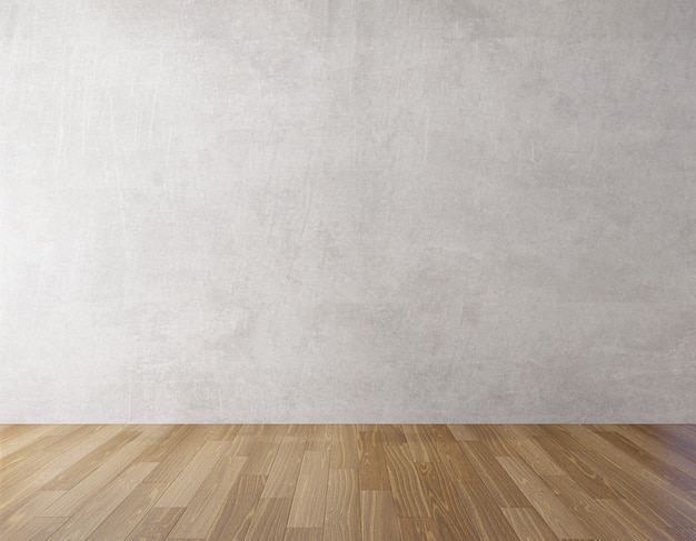 Background concrete wall and wooden floor mock up Premium Photo