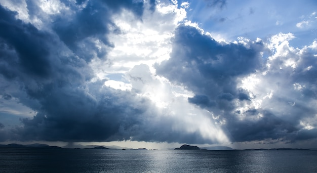 Background of dark sky clouds before a thunder-storm Premium Photo