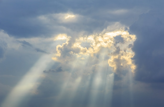 Background of divine light sky and storm clouds Premium Photo