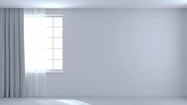 Background empty white room beam Premium Photo