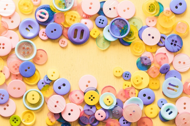Background from buttons of different colors. high quality photo Premium Photo