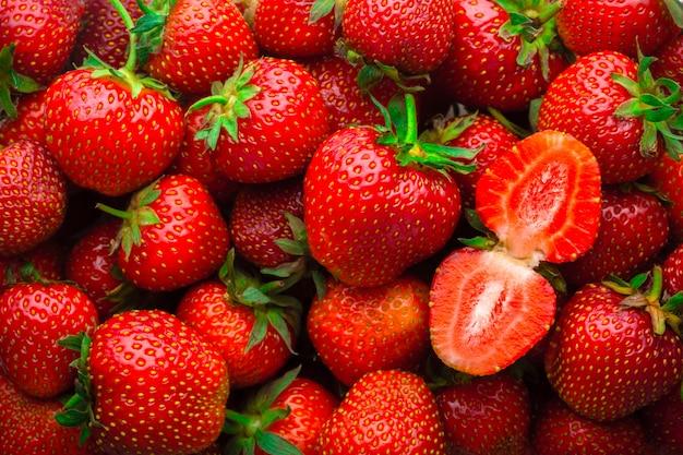Background from fresh red strawberries Premium Photo